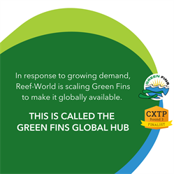 Green graphic with Green Fins and CXTP logo. In response to growing demand, Reef-World is scaling Green Fins to make it globally available. This is called the Green Fins Global Hub.