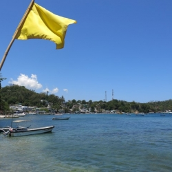 Picture of the ocean and shoreline in Puerto Galera with a yellow flag in the foreground.