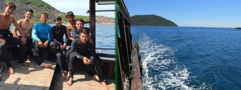 Picture of Sailing Club Divers and government staff on a diving boat on the ocean.