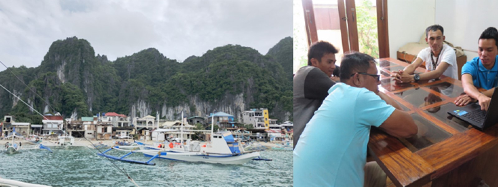 Picture of boats in the ocean in El Nido, next to a picture of the Green Fins team having a meeting.