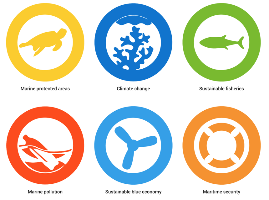 Picture of a graphic with symbols for each of the topics covered by Reef-World's tOur Oceans Conference course: Marine protected areas, climate change, sustainable fisheries, marine pollution, sustainable blue economy and maritime security.