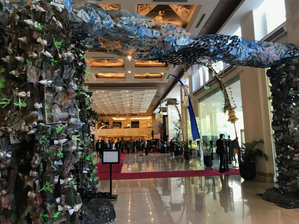 Picture of an art installation made from trash in the main hall of the Our Ocean Conference.