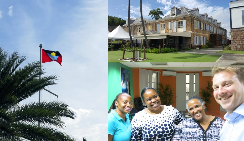 Picture of the Antigua & Barbuda flag, a building and the Reef-World Director with the National Parks Authority team.
