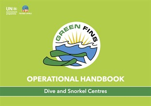 Graphic with the Green Fins Logo.  Operational Handbook: Dive and Snorkel Centres.