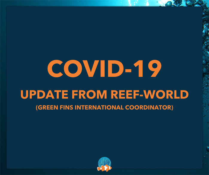 Graphic reading 'Covid-19: Update from Reef-World (Green Fins International Coordinator).
