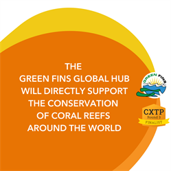 Orange graphic with Green Fins and CXTP logos. The Green Fins global Hub will directly support the conservation of coral reefs around the world.