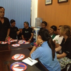 Picture of the dive guide accreditation seminar taking place in Moalboal, Philippines.