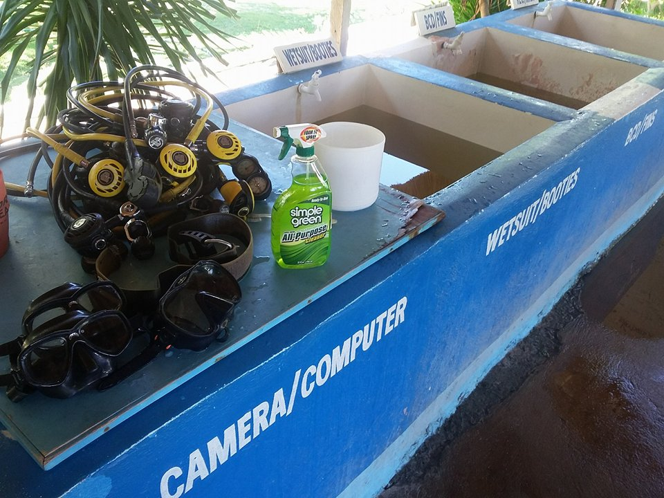 Picture of a cleaning station at a dive centre in Malapascua. As part of their sustainability policy, they are using eco friendly cleaning products.