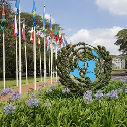 Picture of the outside garden of the UN Office in Nairobi where the ICRI General Meeting took place.