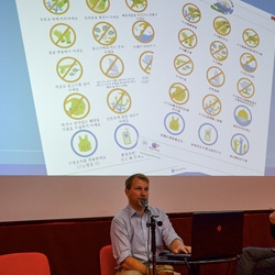 Picture of James Harvey from Reef-World talking at a workshop at MedPAN in Slovenia.