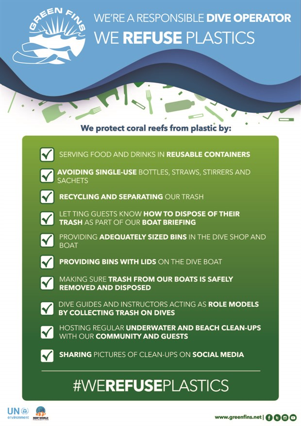 Picture of a Green Fins graphic of a poster about plastics that dive operators can display to be an environmental role model.