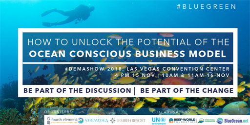 Picture of a graphic with details of the DEMA show: How to Unlock the Potential of the Ocean Conscious Business Model.