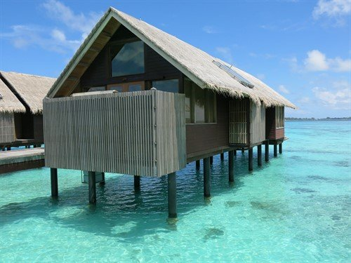 Picture of an overwater bungalow in the Maldives.