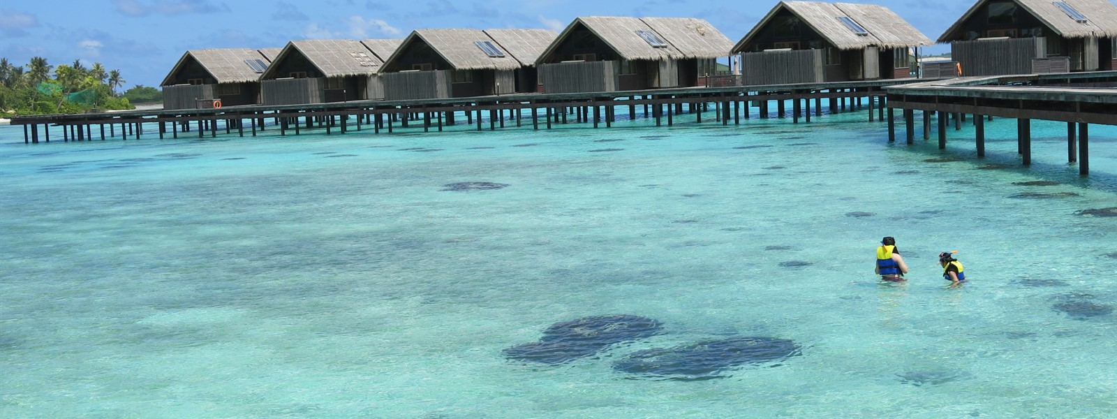 Picture of overwater bungalows in the Maldives.