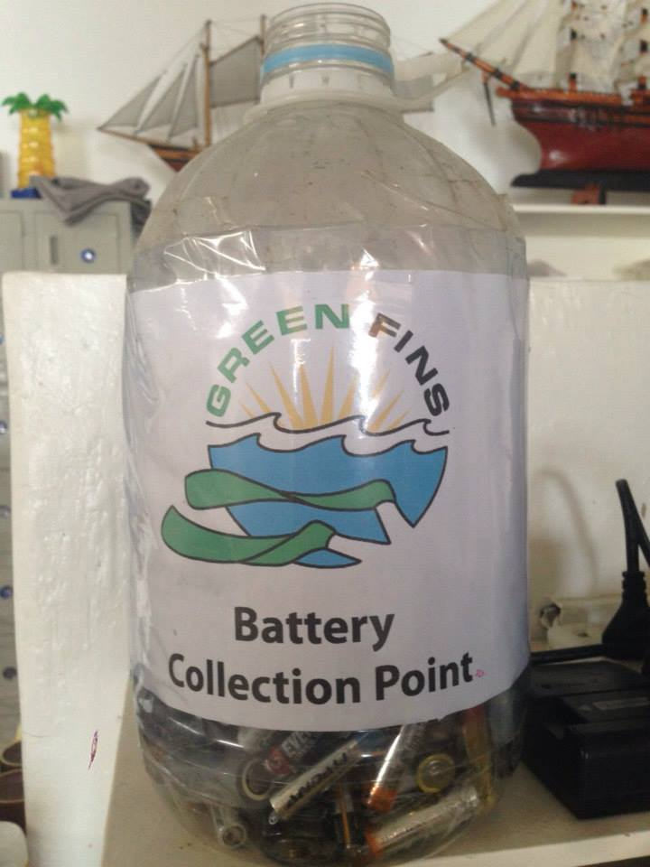 Picture of a battery collection point in a dive centre in Moalboal.