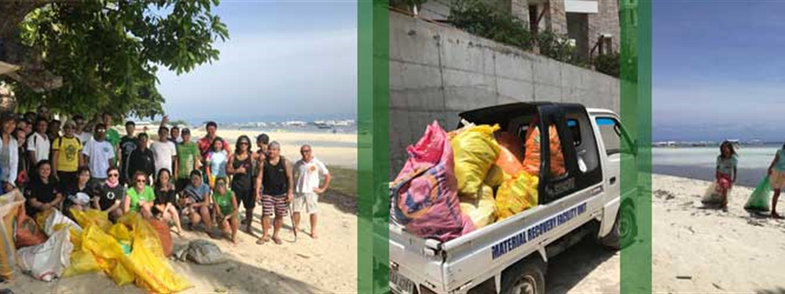 Picture of the volunteers who took part in the beach clean up. Picture of the bags of trash that were collected on Doljo beach.