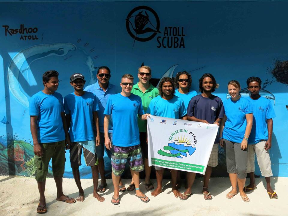 Picture of Reef-World staff with members in the Maldives.