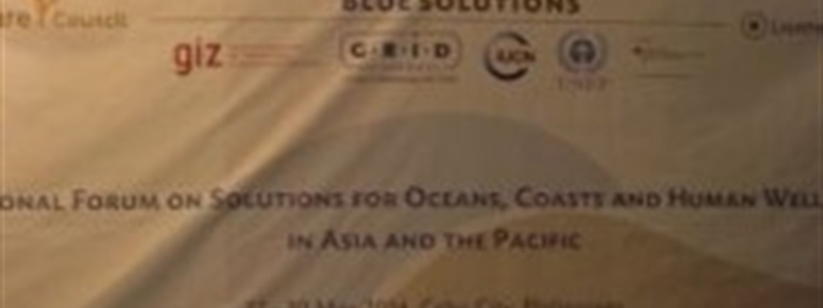 Picture of the banner for the Regional Forum on Solutions for Oceans, Coasts and Human Well-Being in Asia and the Pacific forum.