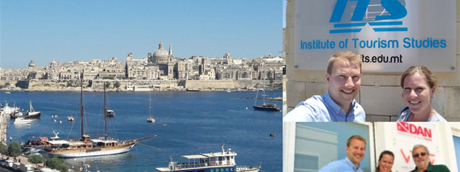 Picture of the ocean and landscape in Malta. Picture of Chloe and James from Reef-World outside the Institute for Tourism Studies in Malta.