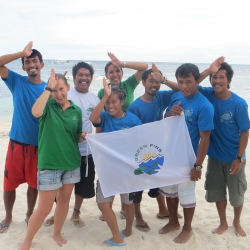 Picture of Green Fins team with the new group of ambassadors in Malapascua.