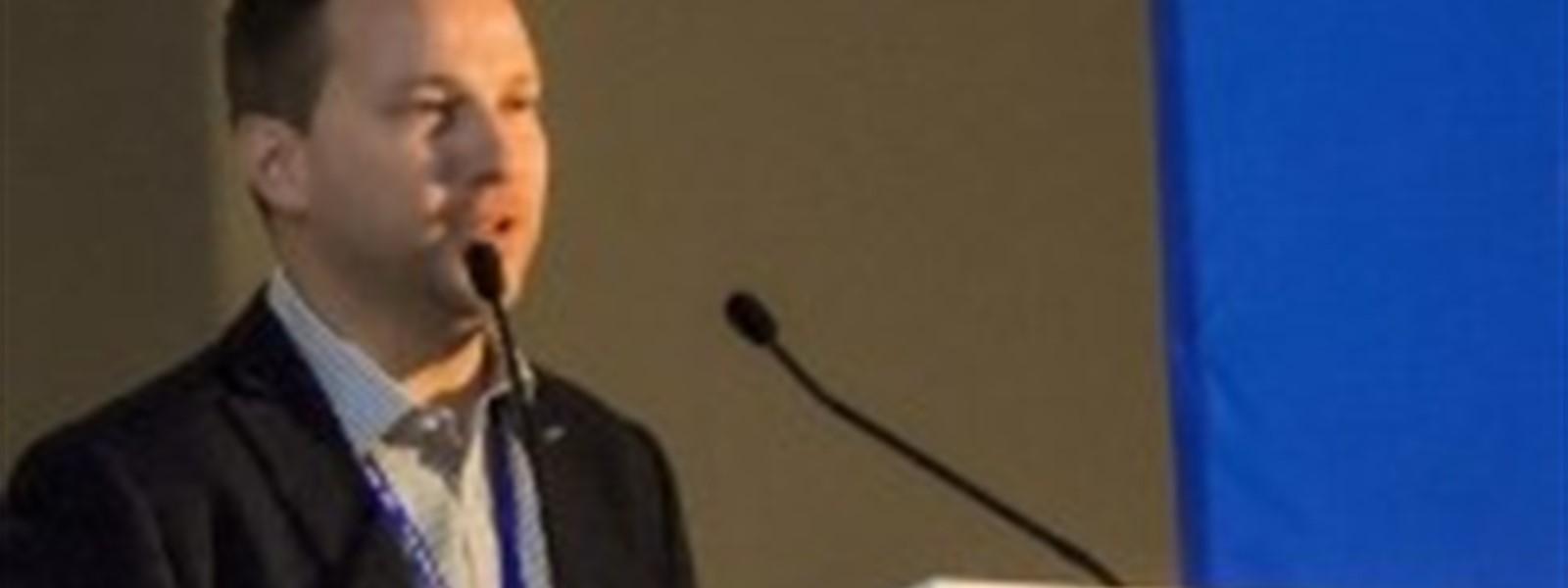 JJ Harvey from Reef-World giving a keynote speech in Bangladesh.