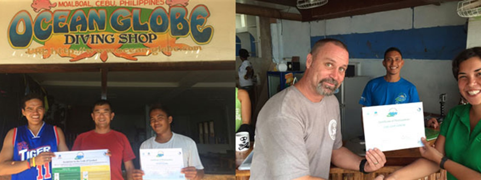 Picture of Green Fins assessors in Maolboal receiving their certificates from the Green Fins team.