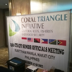 Picture of the Coral Triangle Initiative banner at the senior officials meetings.