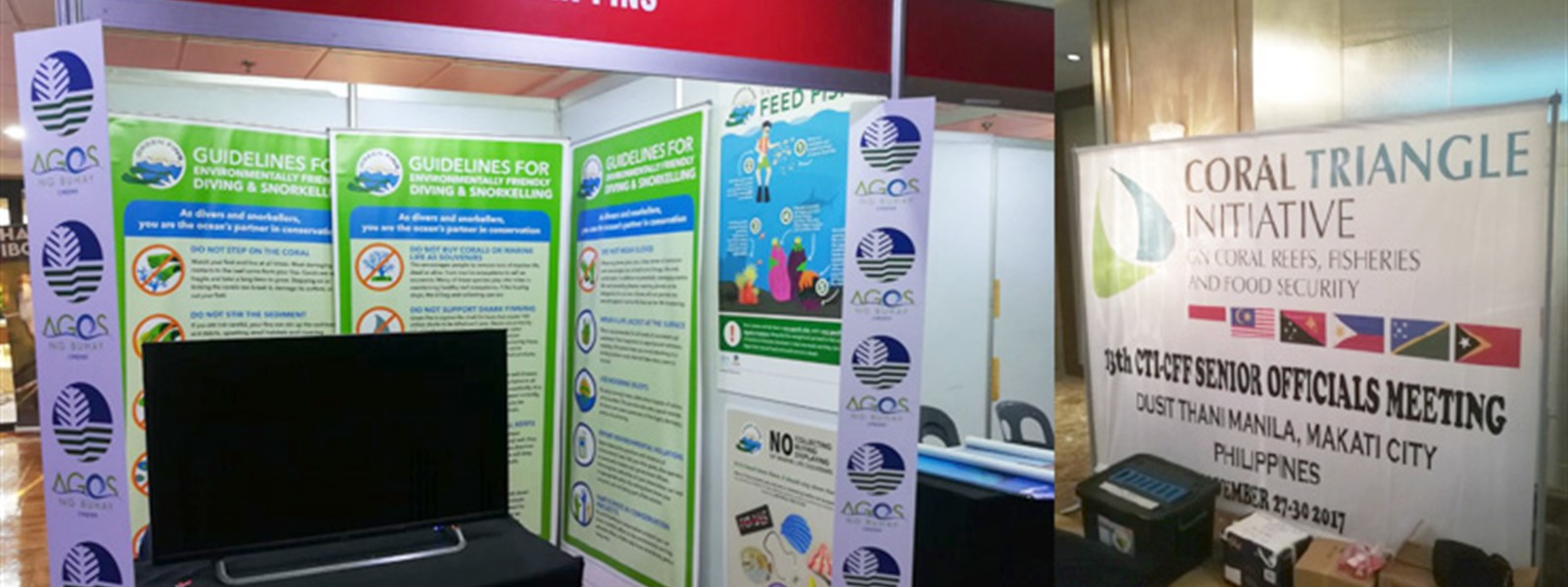 Picture of Green Fins posters at the Coral Triangle Initiative senior officials meetigs.