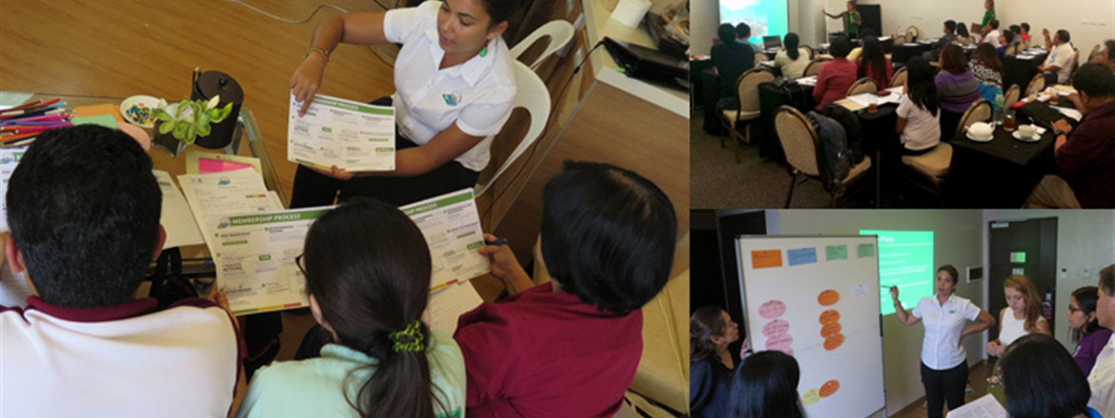 Pictures of Sam from Reef-World leading training for DENR coordinators.