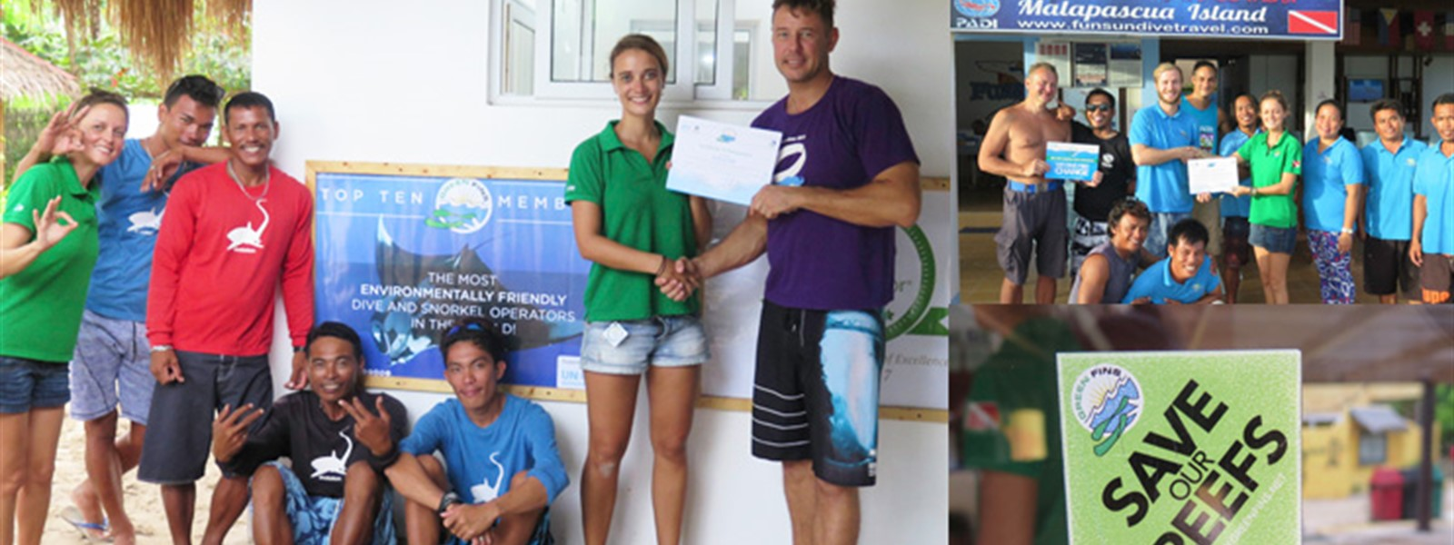 Picture of Green Fins assessors leading training for dive centres and presenting certificates.