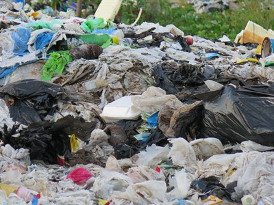 Picture of single use plastic items including plastic bags and containers.