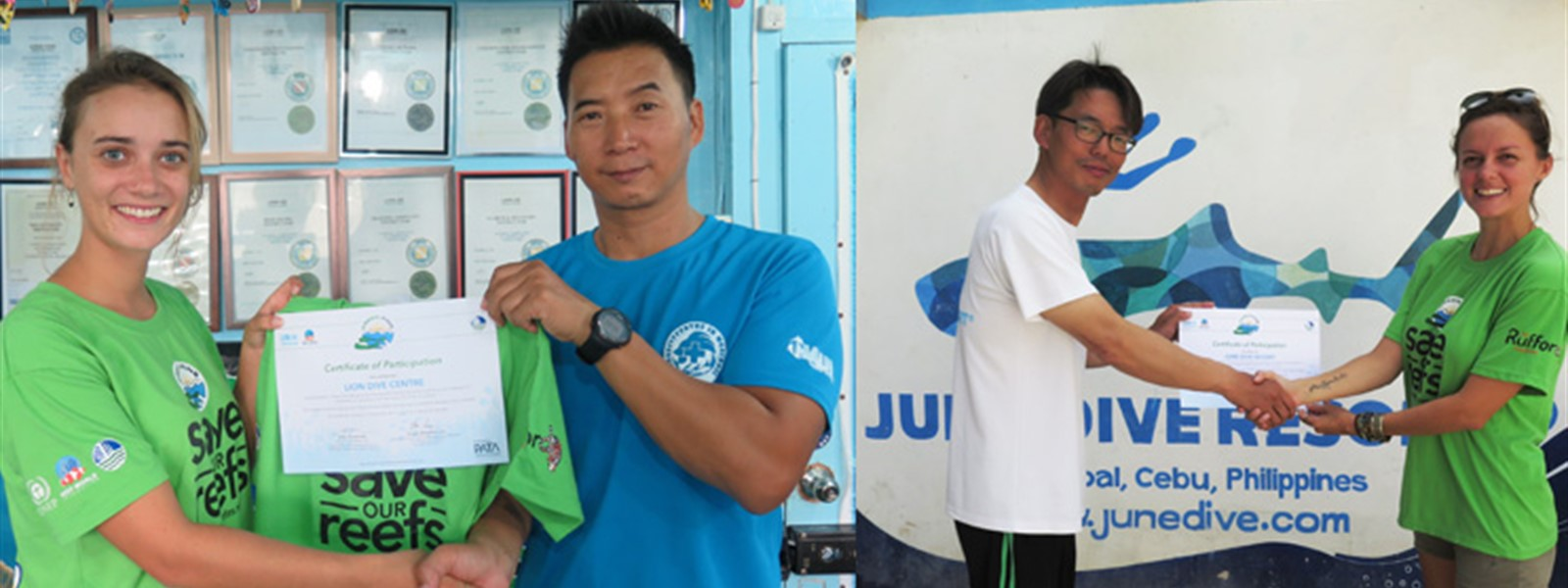 Picture of Green Fins assessors giving certificates to dive centre staff.