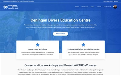 Picture of the Ceningan Divers Education Centre website.