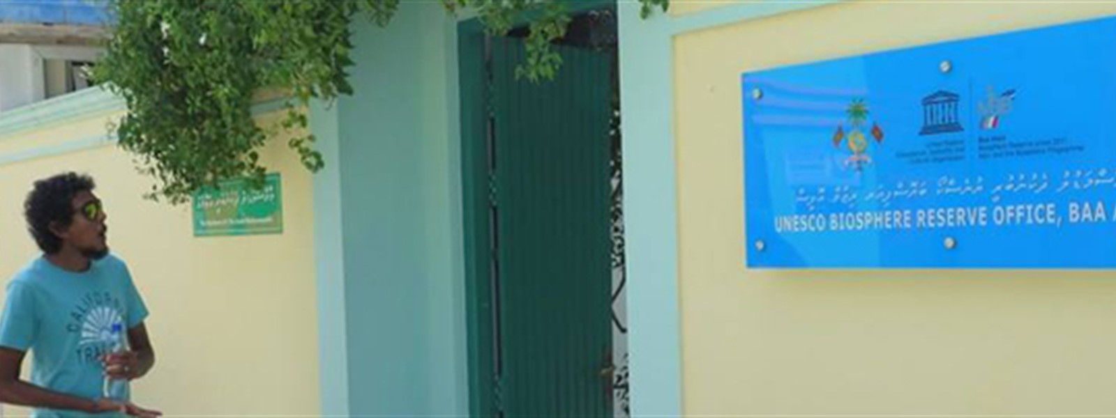 Picture of a person outside the UNESCO Biosphere Reserve Office, Baa Atoll.