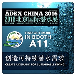 Picture of a graphic promoting the Green Fins booth at ADEX in Beijing, China.