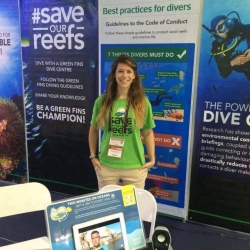 Picture of Reef-World staff at the Green Fins booth at Diving Resort Travel Expo in Manila.
