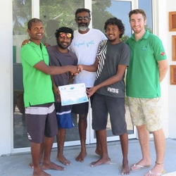 Picture of the Green Fins team in Baa Atoll, the Maldives.