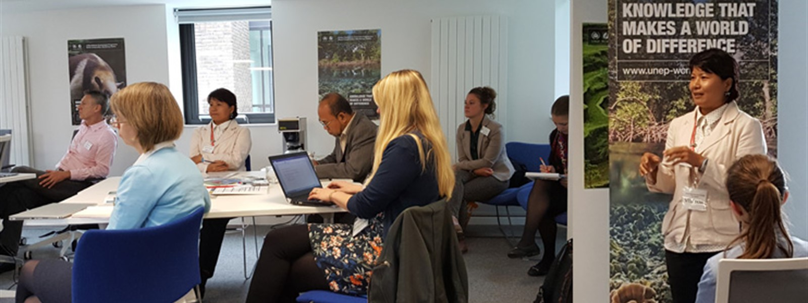 Picture of workshops taking place during the Global Coral Reef Partnership Workshops in Cambridge.