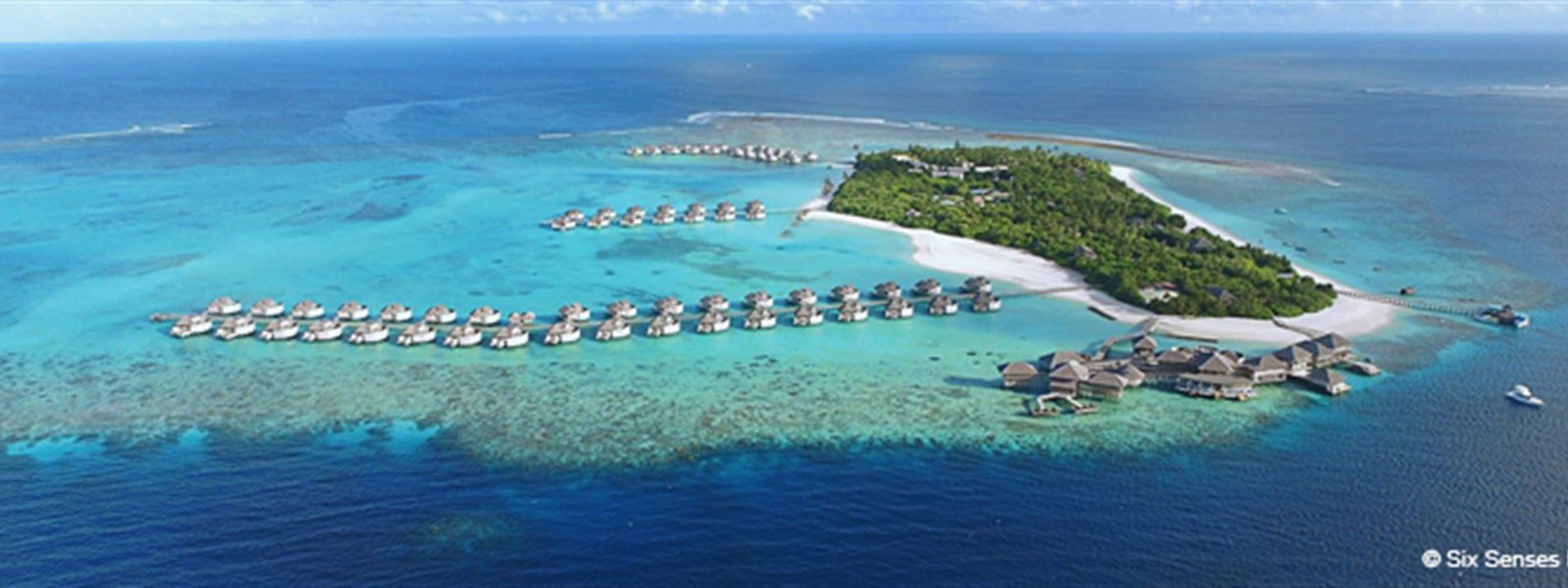 Picture of Six Senses Laamu in the Maldives, showing an aerial view of the atoll.