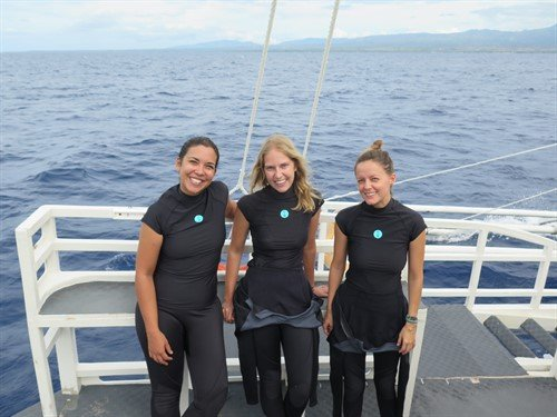 Picture of Sam, Mel and Jula from Reef-World wearing Fourth Element rash guards and wetsuits.