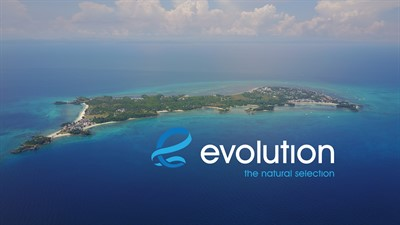 Picture of Evolution's banner - a photograph of an island with the Evolution logo.