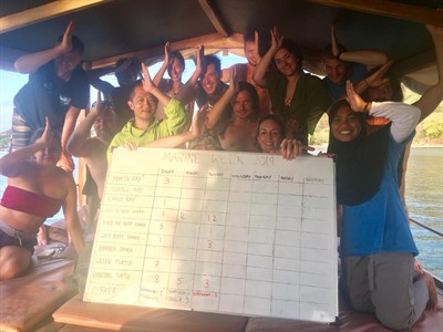 Picture of a group on a boat. They are holding a large chart and making a fin sign with their hands.