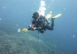 Picture of a SCUBA diver underwater collecting marine rubbish.
