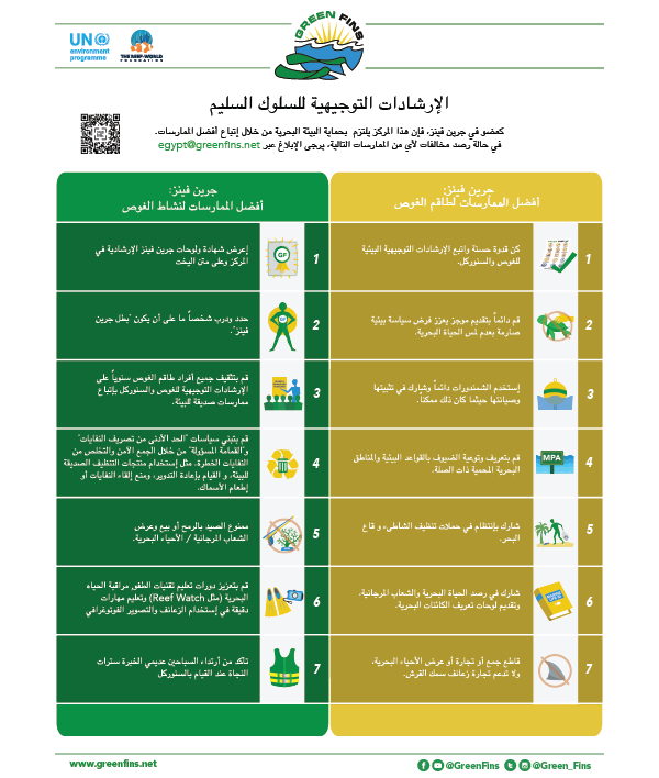 Green Fins Guidelines to the Code of Conduct –  Dive Operator and Staff (Arabic - عربى)