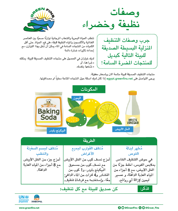 Non-Toxic Cleaning (Clean & Green) Recipe (Arabic - عربى)