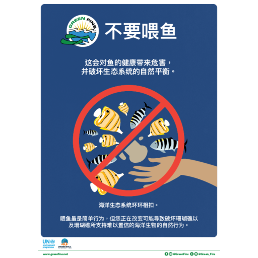Do not feed the fish poster (Simplified Chinese - 简体中文)