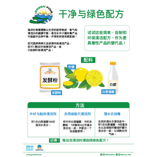 Non-Toxic Cleaning (Clean & Green) Recipe (Simplified Chinese - 简体中文)