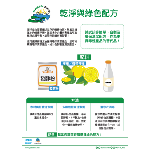 Non-Toxic Cleaning (Clean & Green) Recipe (Traditional Chinese - 繁體中文)