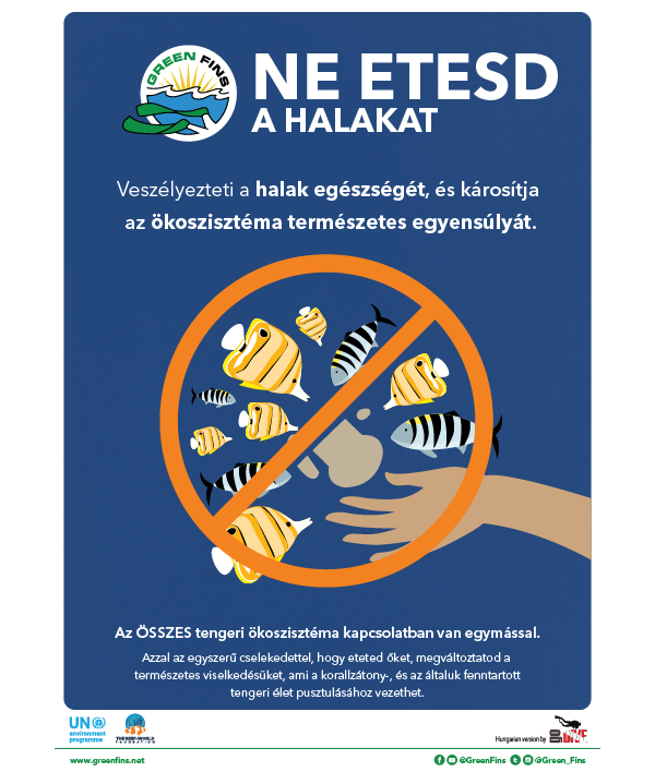 Do not feed the fish poster (Hungarian - Magyar)