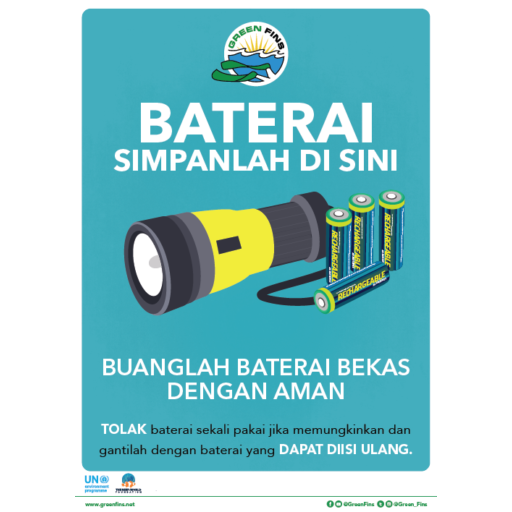 Batteries collected here sign (Indonesian - Bahasa Indonesia)